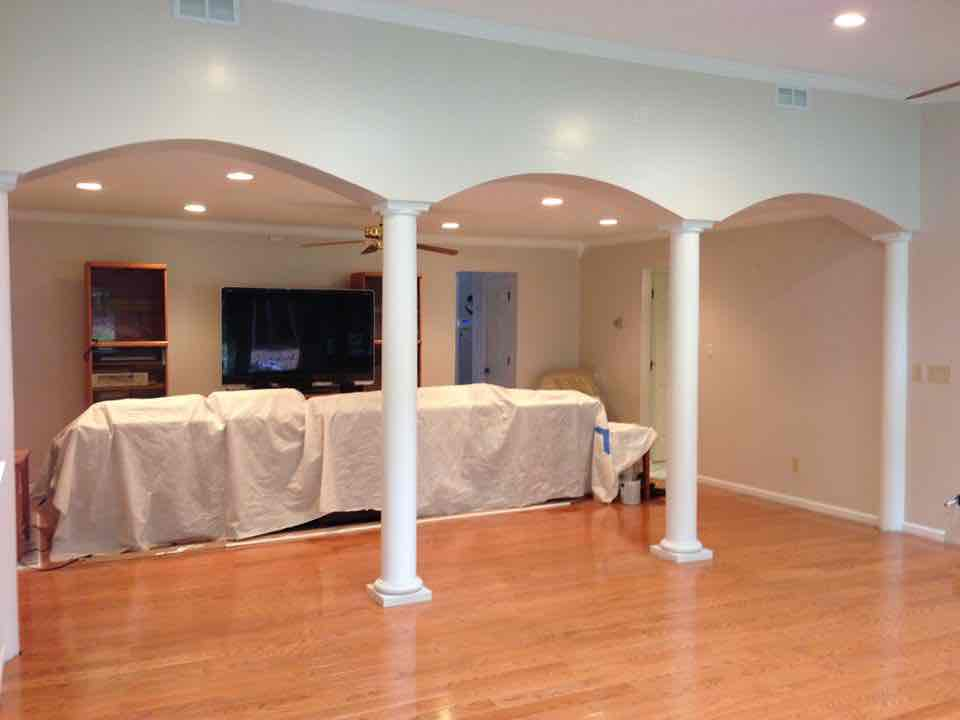gallery-bathroom-grout-shower-sunroom-arch-doorway-pillars-painting-recessed-lighting-arch-door-way-columns-wood-finish